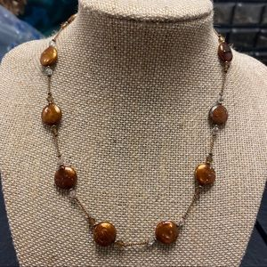 Brown Stone Necklace With Sparkles